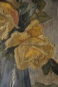 Still life with yellow roses. Canvas oil painting. 1922. Ireland. Close-up of the painting photographed in a raking light. This technique gives a greater understanding of the relief of the painting (the shape of its surface) and how the artist has used the paint. State before conservation.